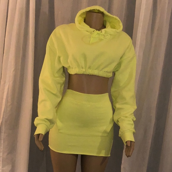 a55e8489ee36 Diamond Luxe Couture Other | 2 Piece Neon Yellow Hoodie Skirt Set ...